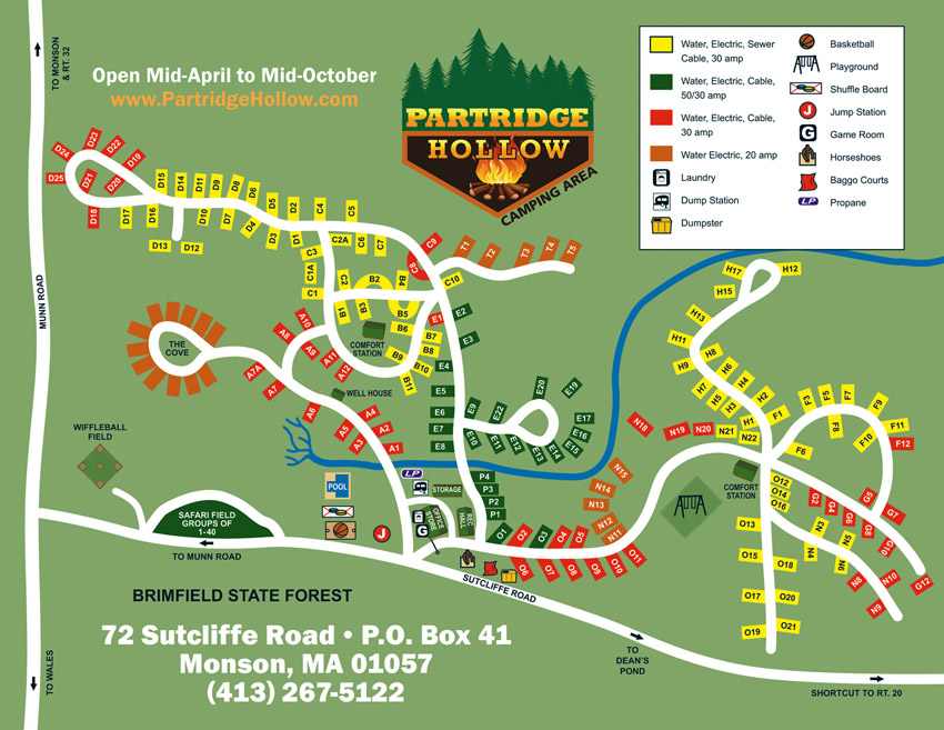 Partridge Hollow Camping Area Site Map